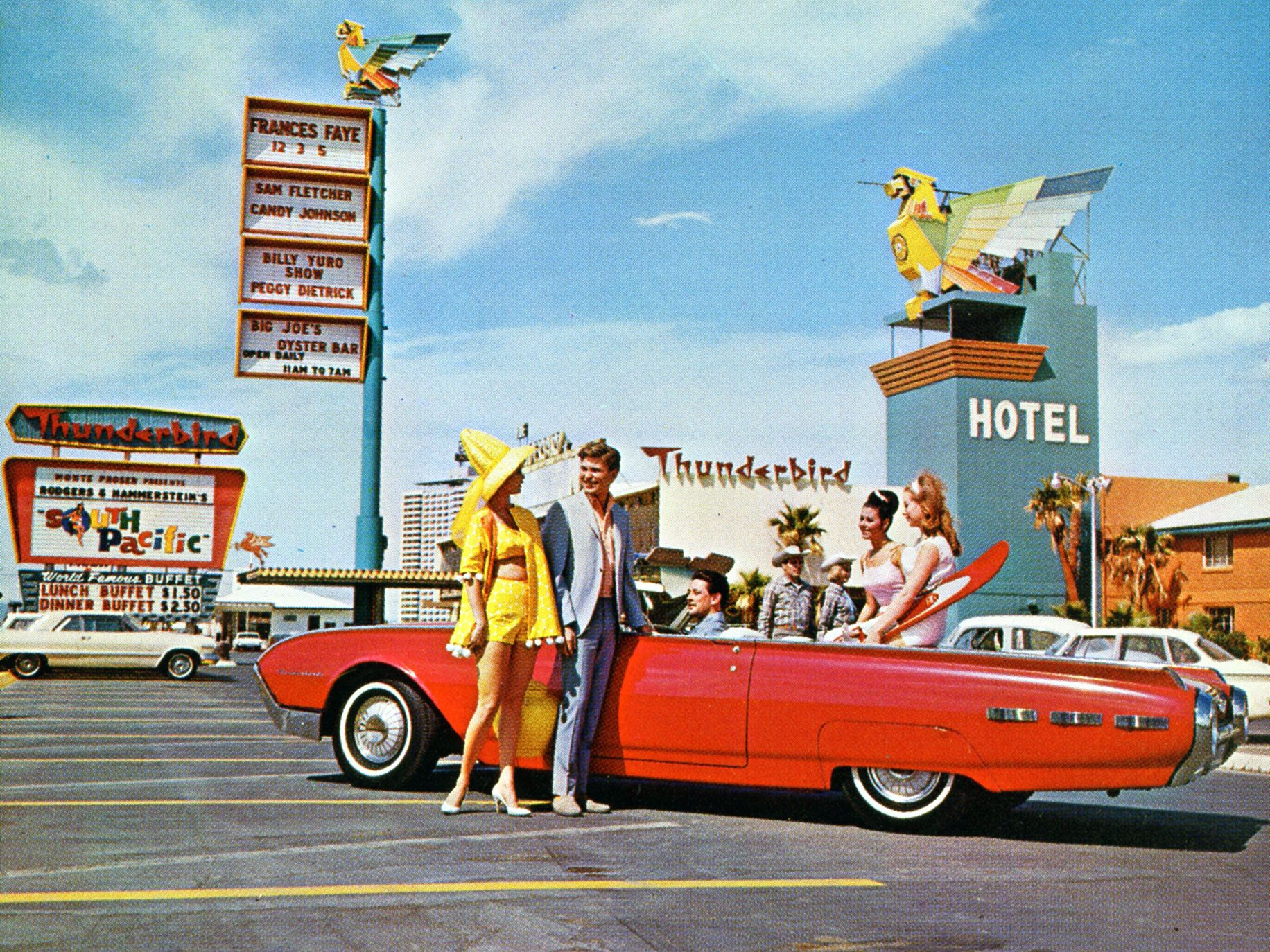 A photo showing the Thunderbird Hotel in Las Vegas is one of the many pieces of industry images that make up Greetings from Las Vegas.