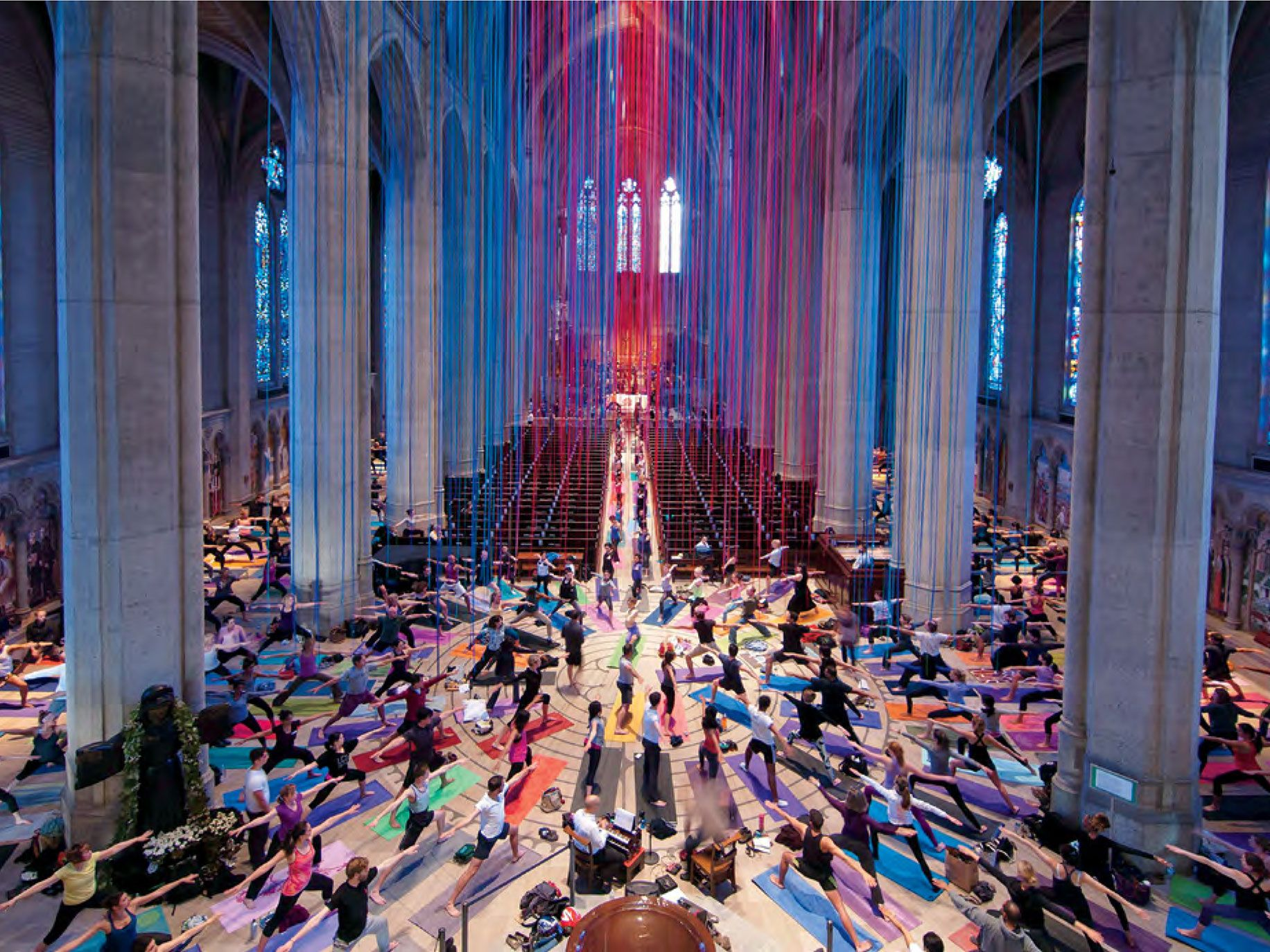 Yoga on the labyrinth at Grace Cathedral, underneath an art installation titled Graced by Light by artist Anne Patterson, from San Francisco on Instagram.