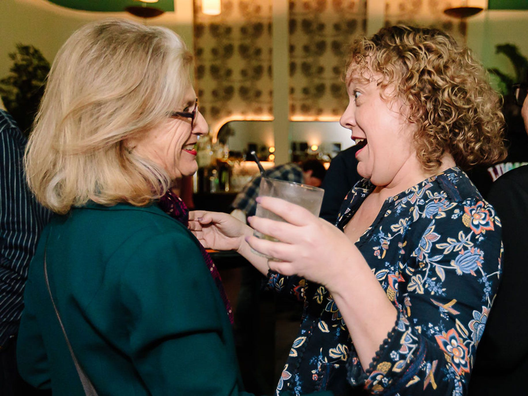 "Louise Steinman and Maret Orliss connect at Checker Hall in Highland Park. Hosted by Alta Magazine, the event celebrated the launch of ""Joan Didion: The 1960s and 70s,"" a curated collection of the author's work edited by Alta Books Editor David Ulin."