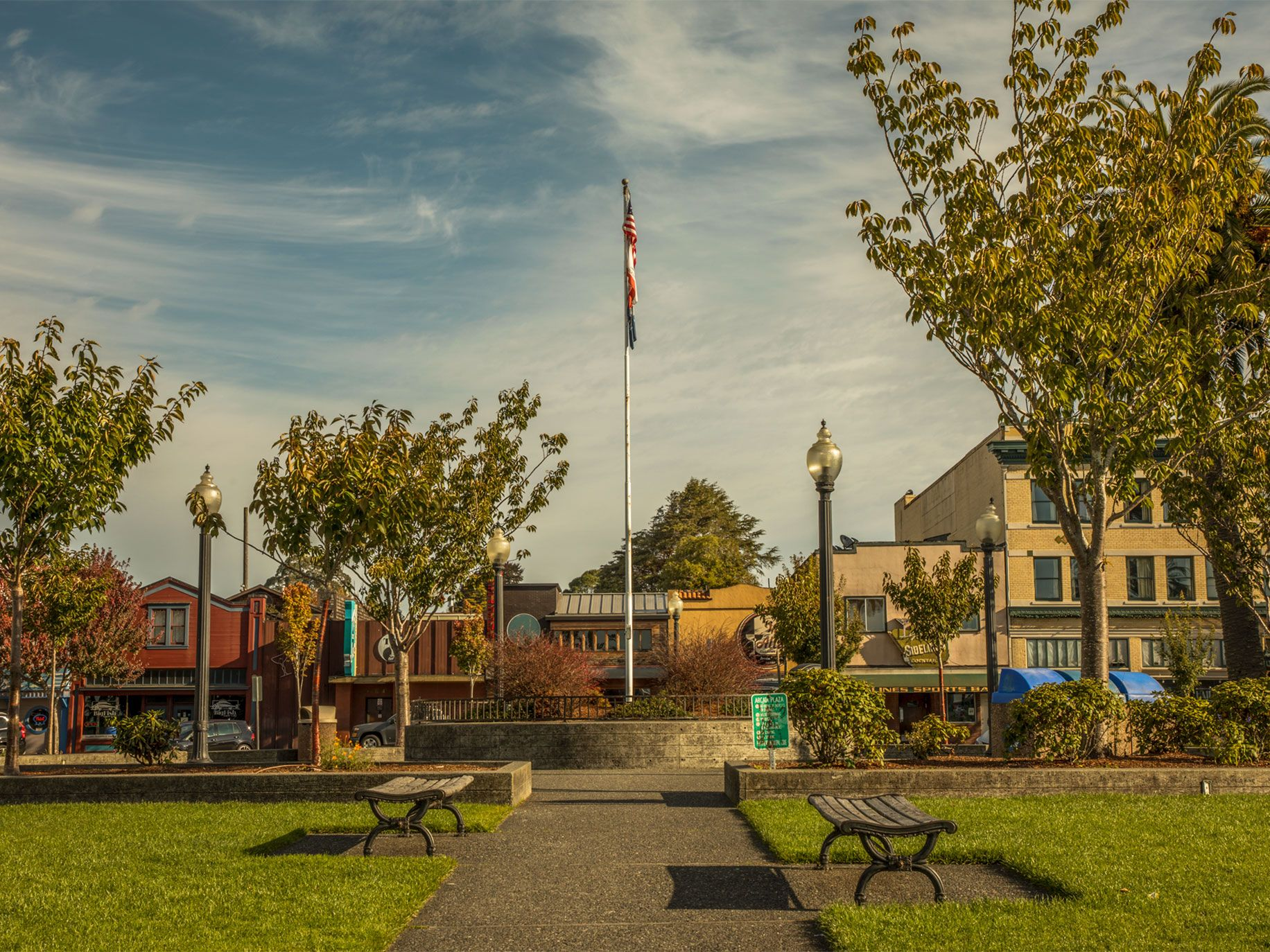 A statue of President William McKinley was removed from the center of the Arcata Plaza last year and a flagpole was erected in its place.