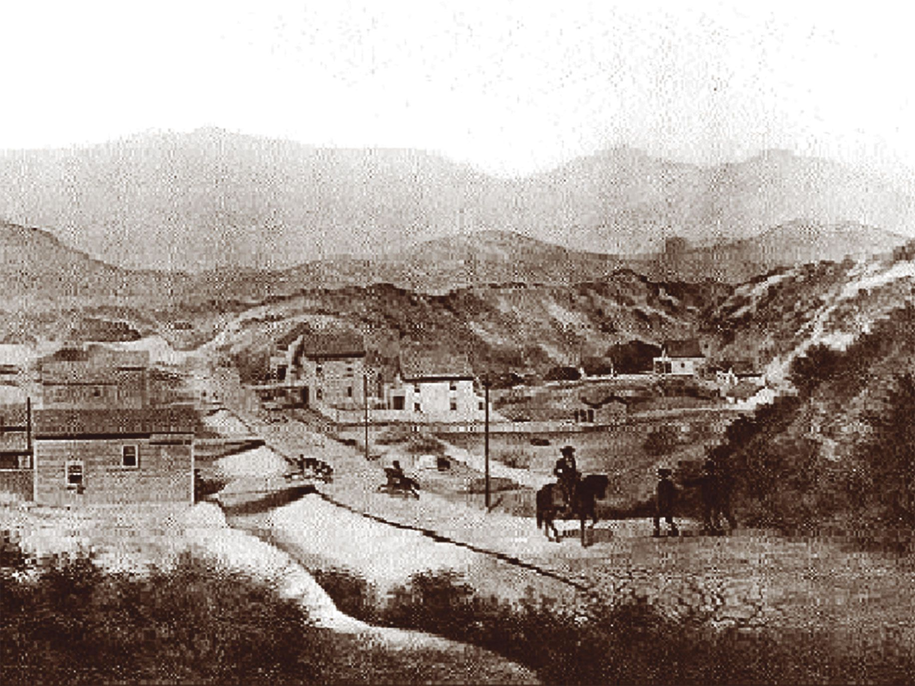 An 1856 illustration of San Francisco's Mission Plank Road.