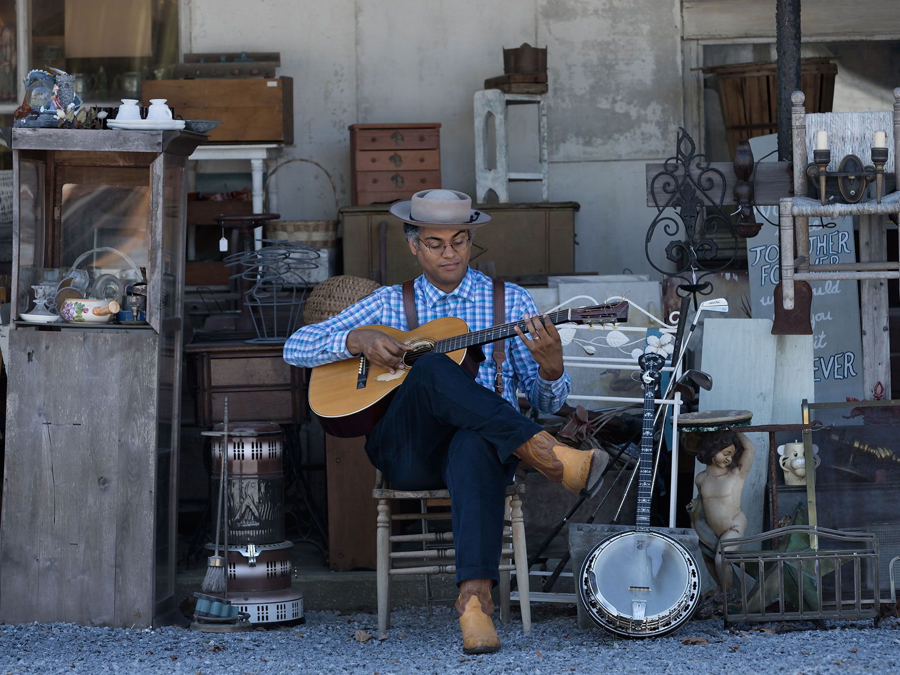Maryland resident Dom Flemons weaves history into his work.