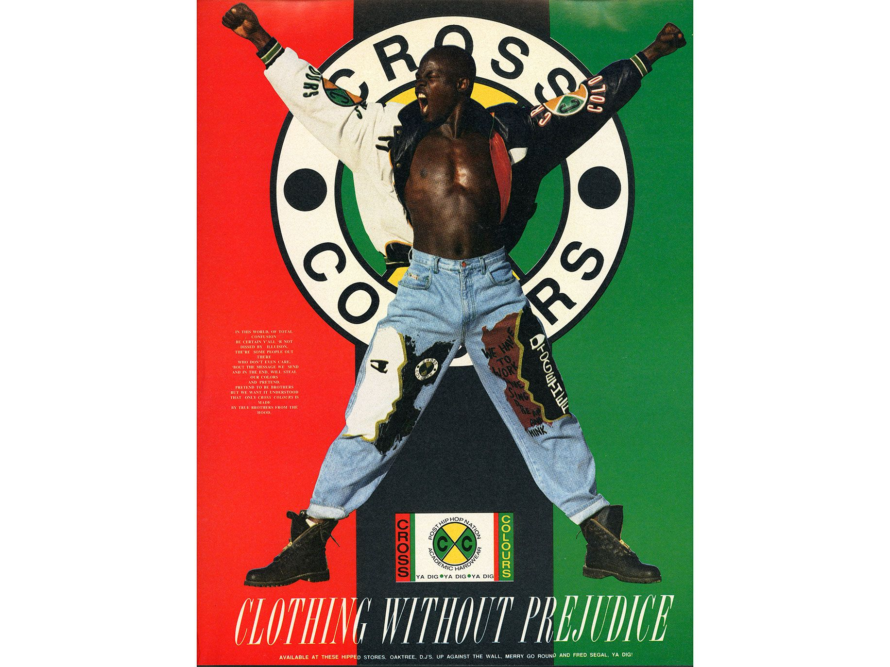 Djimon Hounsou poses in a Cross Colours ad that ran in a 1991 issue of Urb magazine.
