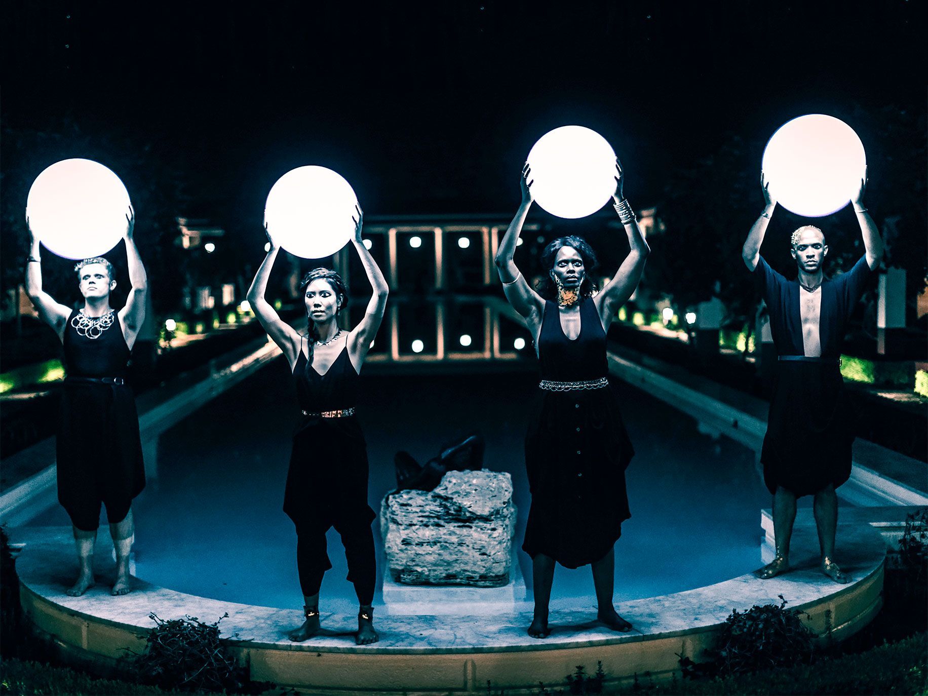 Four Larks' production of Katabasis, performed at the Getty Villa.