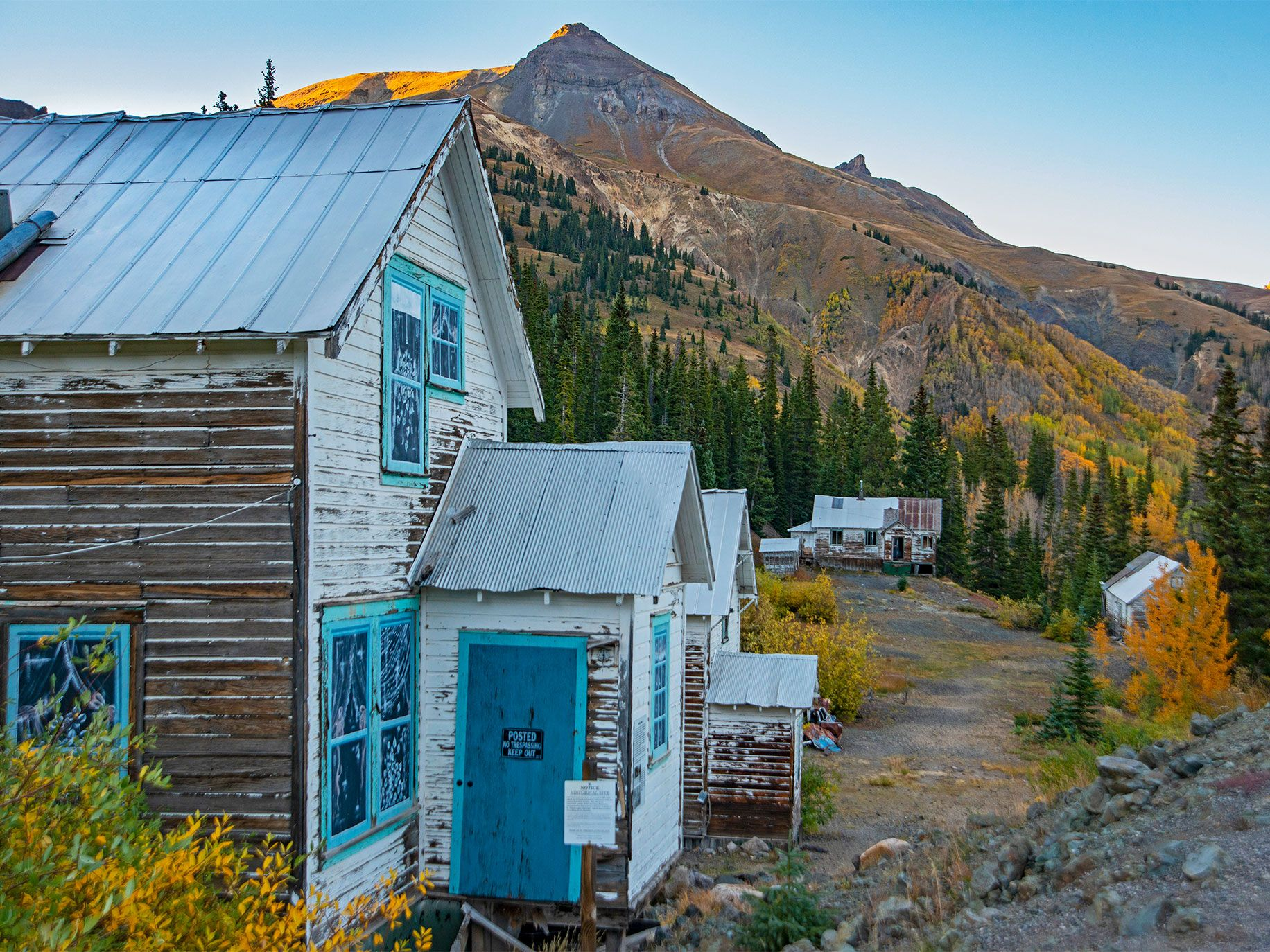 Century-old houses stand empty at the former Idarado Mine, near Silverton, Colorado. The homes were moved here in 1948 from Eureka, a nearby ghost town.