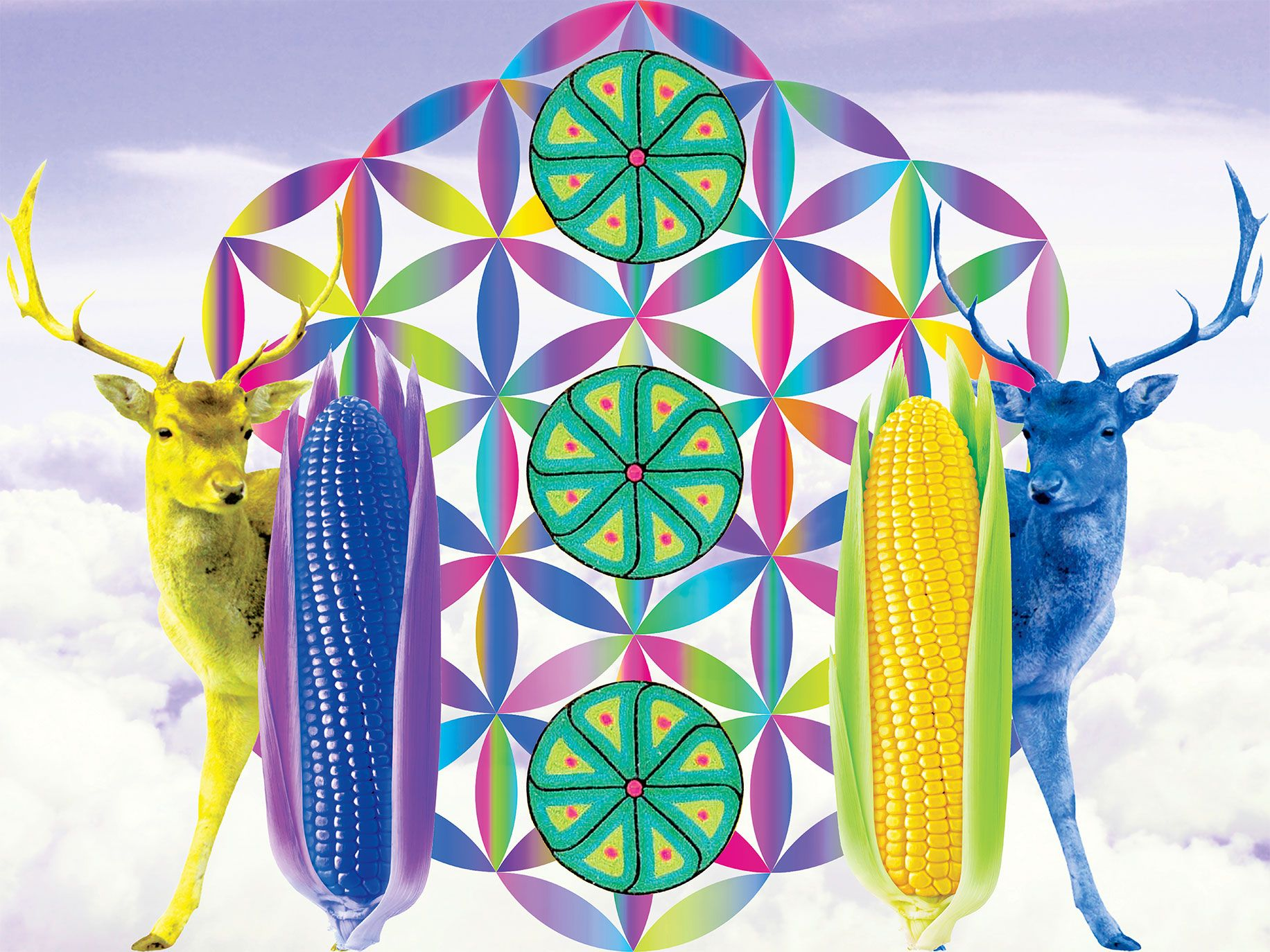 The corn and deer in North (Our Sacred Ancestors) represent Edgar Fabián Frías's Wixárika heritage.