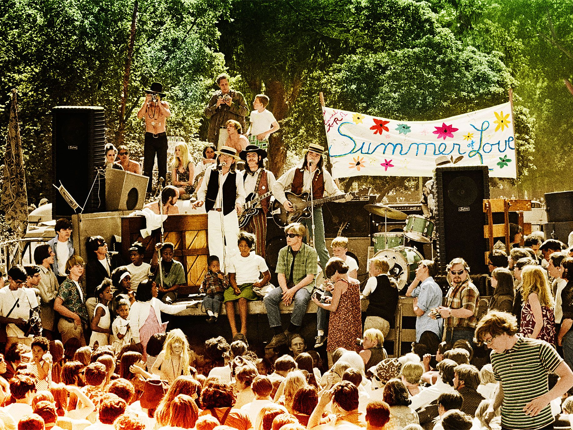 The Charlatans playing at the Summer of Love concert in Golden Gate Park, San Francisco, 1967.