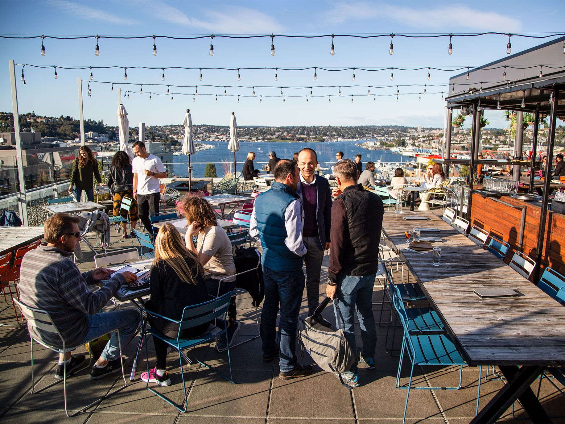 The outdoor deck offers a sweeping view of Lake Union.