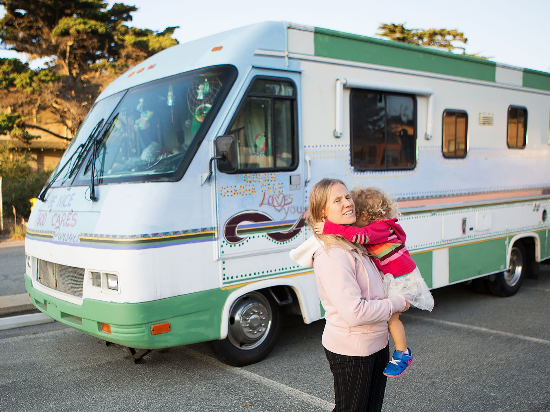 One Starfish founder Tia Fechter and her daughter on a visit to the organization's safe-parking site in Marina, California.