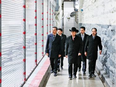 Members of the norteño band Los Tigres del Norte walk the grounds of Folsom State Prison in April 2018. Their concert there is the subject of a Netflix documentary, Los Tigres del Norte at Folsom Prison, and was recorded for a live album of the same name.