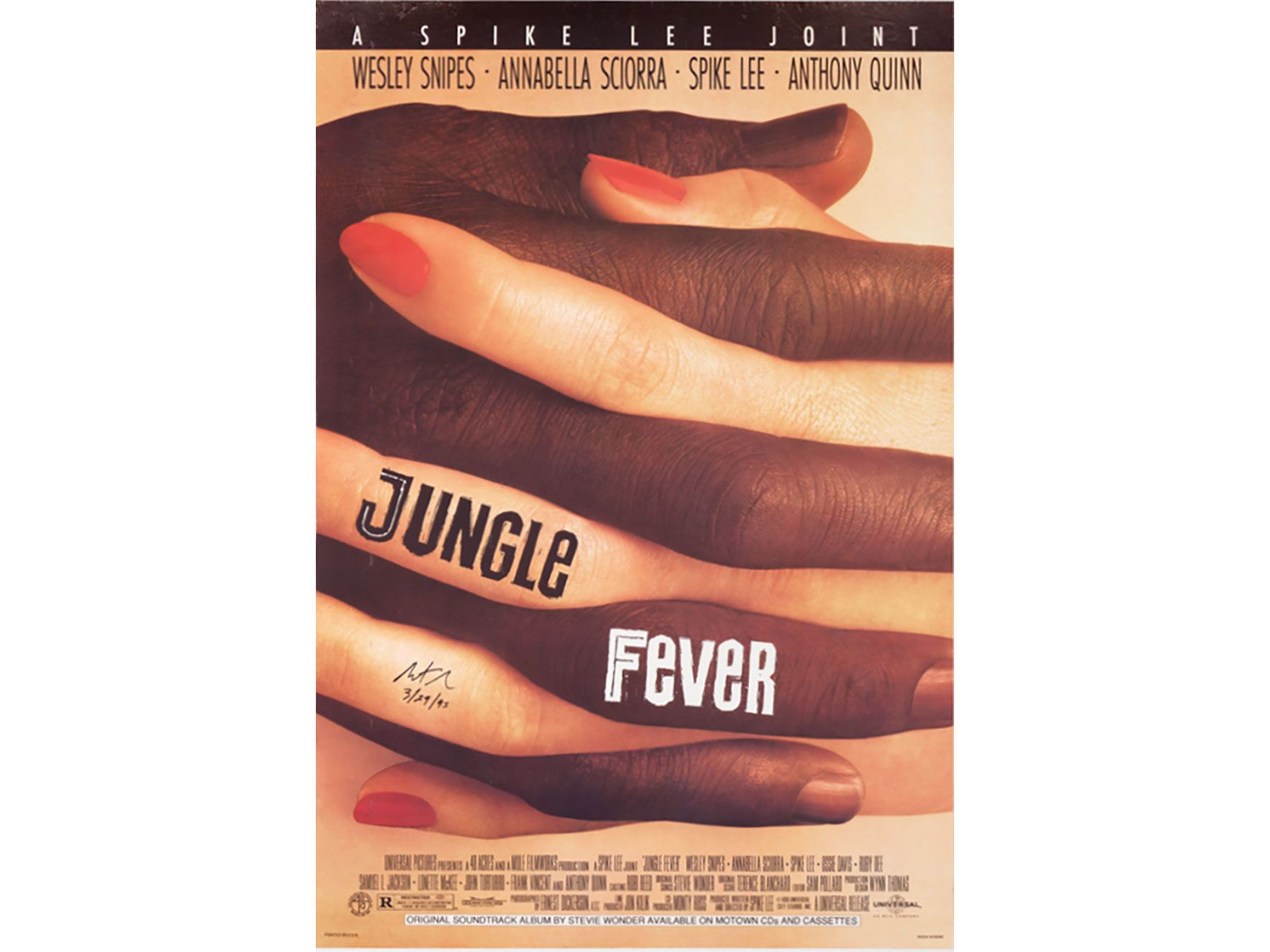 The poster for Spike Lee's Jungle Fever, designed by graphic artist Art Sims.
