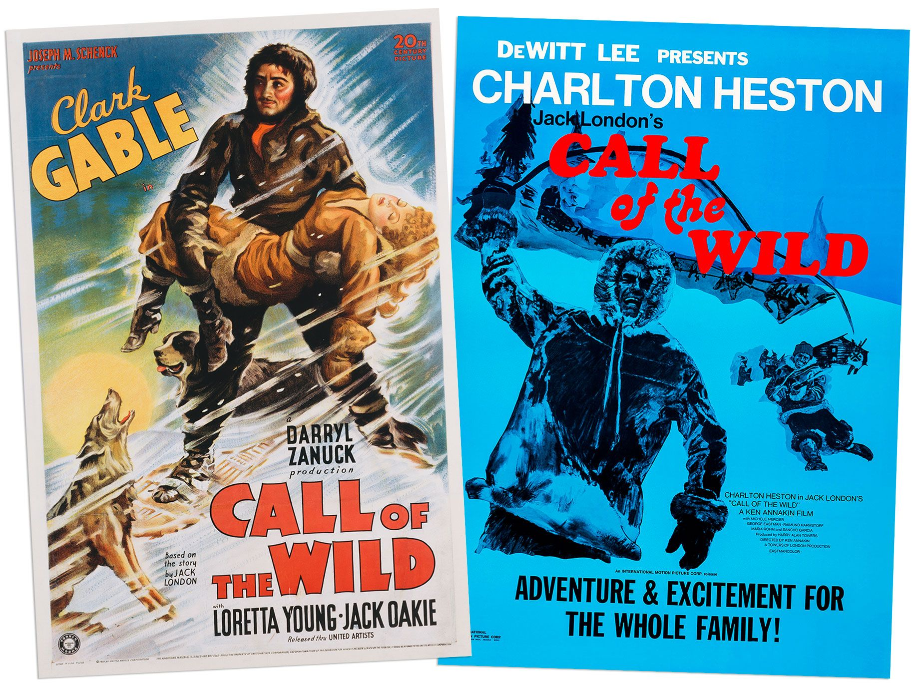 Posters for the 1935 and 1972 film versions of The Call of the Wild.