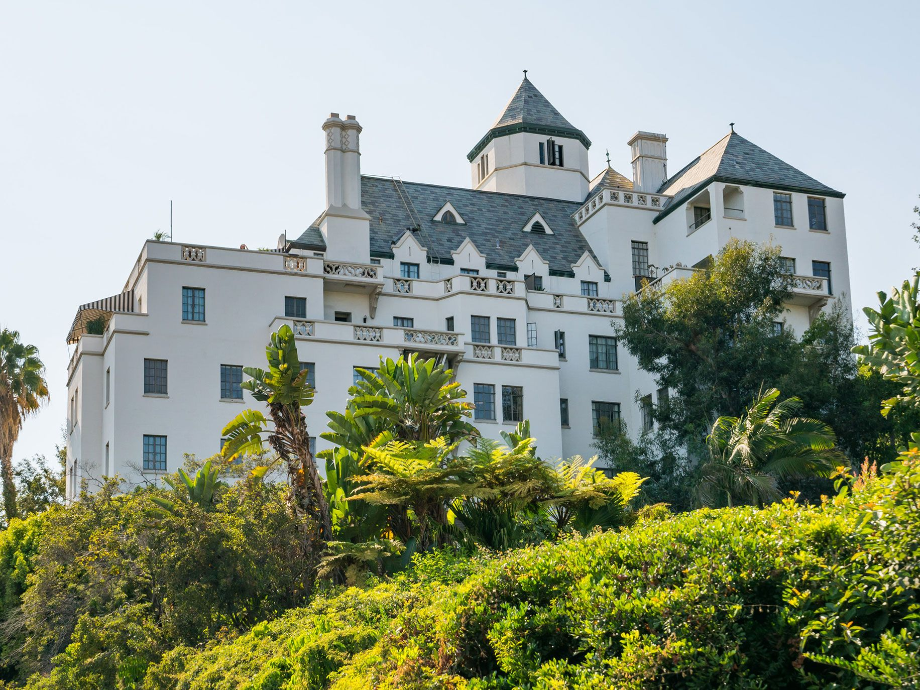 The Chateau Marmont Hotel is perched on a hill looking down over Sunset Boulevard.