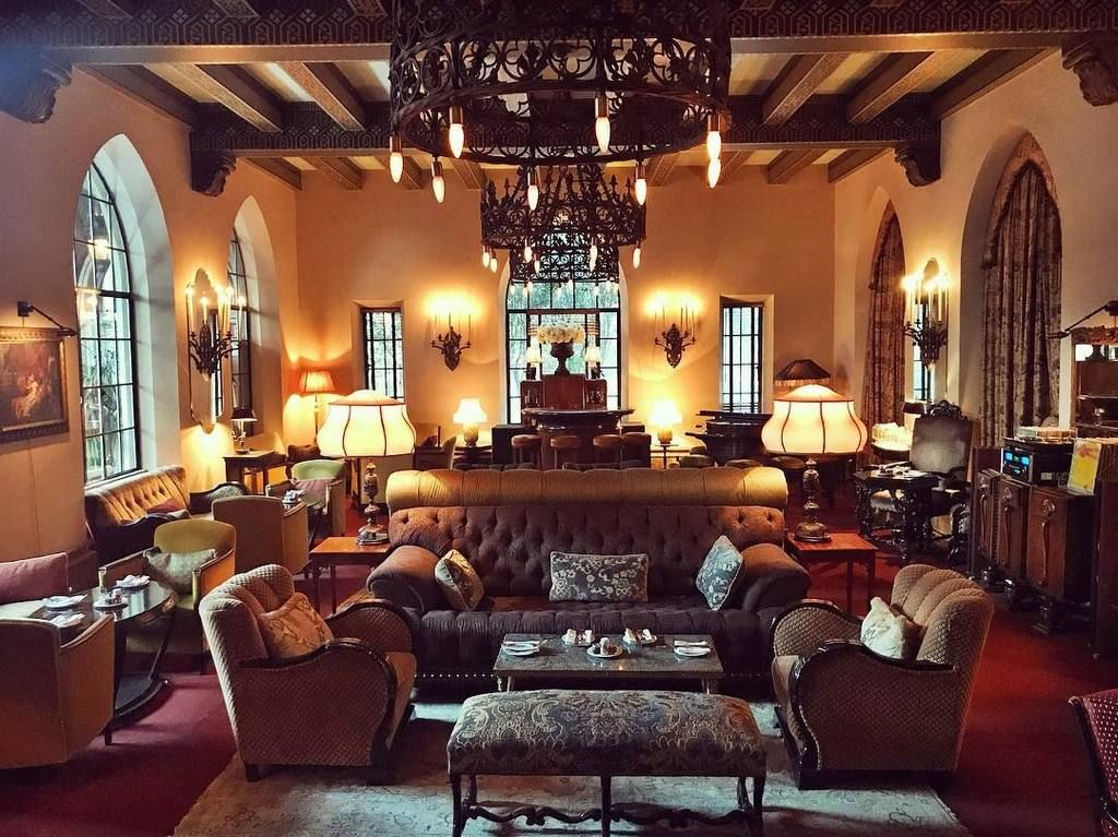 The luxe lobby of the Chateau Marmont is a magnet for show business bold names.