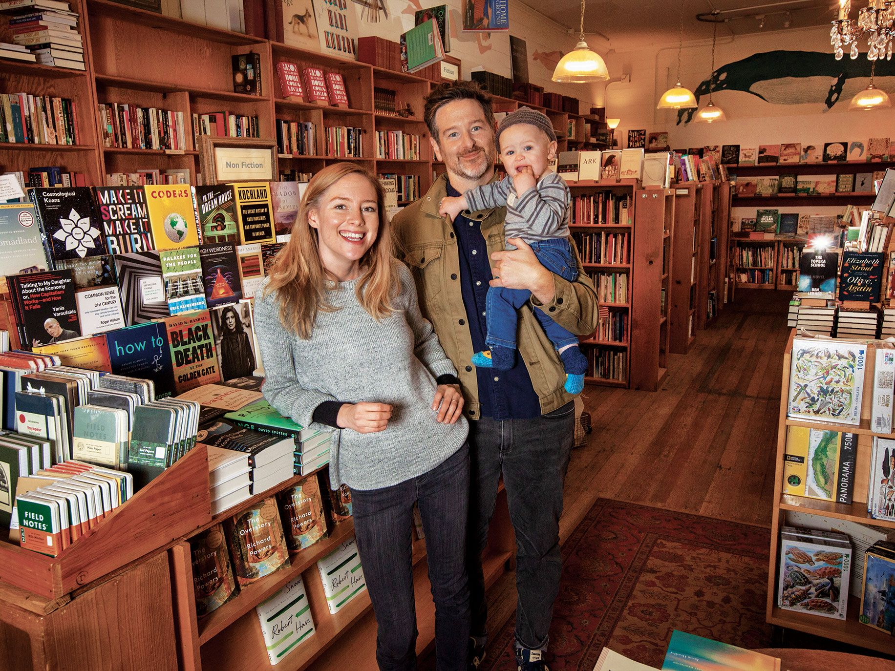 Stephen Sparks and Molly Parent, owners of Point Reyes Books, with their 14-month-old son, Liam. Their store exemplifies the resurgence of independent booksellers in the age of Amazon.