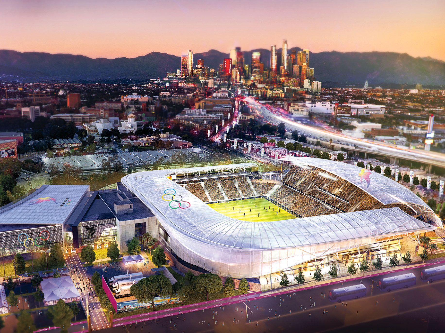 A rendering that shows the Banc of California Stadium, which is being built in Exposition Park. The arena will be one of multiple locations in the Los Angeles area that will be repurposed for the 2028 Olympic Games.