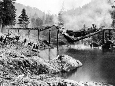 In what would be the most expensive scene in silent-film history, Buster Keaton constructed a bridge, set it afire, drove a steam train onto it—and then had everything collapse into a river 34 feet below. Keaton had only one chance to get the shot right, and he nailed it.