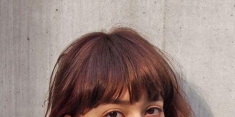 Clothing, Lip, Hairstyle, Chin, Forehead, Eyebrow, Bangs, Style, Eyelash, Jaw,