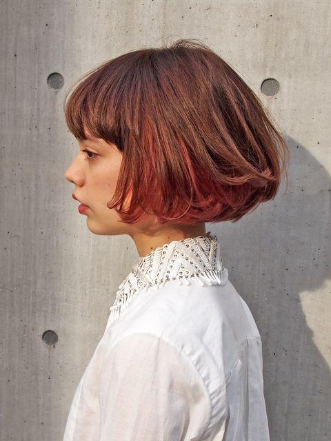 Lip, Hairstyle, Bangs, Style, Wig, Hair coloring, Bob cut, Red hair, Brown hair, Hime cut,