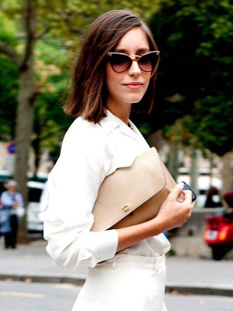 Clothing, Eyewear, Vision care, Lip, Sleeve, Shoulder, Sunglasses, Joint, White, Style,