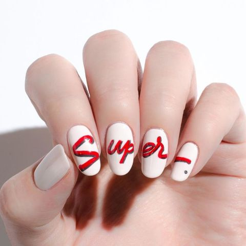 Finger, Skin, Nail, Red, Nail care, White, Nail polish, Manicure, Close-up, Flesh,