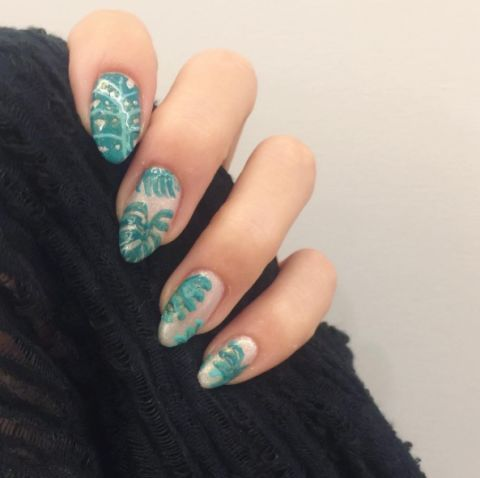 Nail, Nail polish, Manicure, Finger, Nail care, Green, Blue, Turquoise, Cosmetics, Hand,