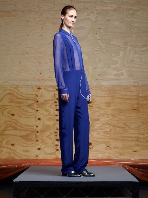 Blue, Sleeve, Standing, Formal wear, Electric blue, Majorelle blue, Cobalt blue, Blazer, Suit trousers, Hardwood,