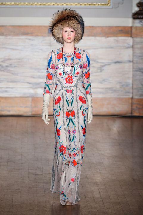 Textile, Style, Headgear, Fashion, Street fashion, Fashion model, Fur, Fashion show, Fashion design, One-piece garment,