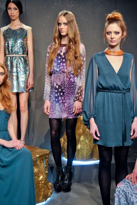 Clothing, Shoulder, Joint, Dress, Style, Fashion model, Waist, Fashion, Electric blue, One-piece garment,