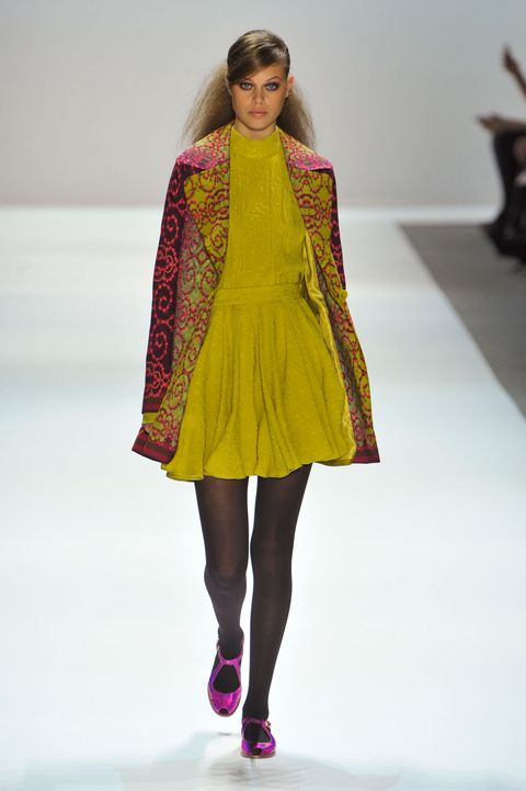 Clothing, Fashion show, Shoulder, Joint, Outerwear, Magenta, Pink, Style, Runway, Fashion model,