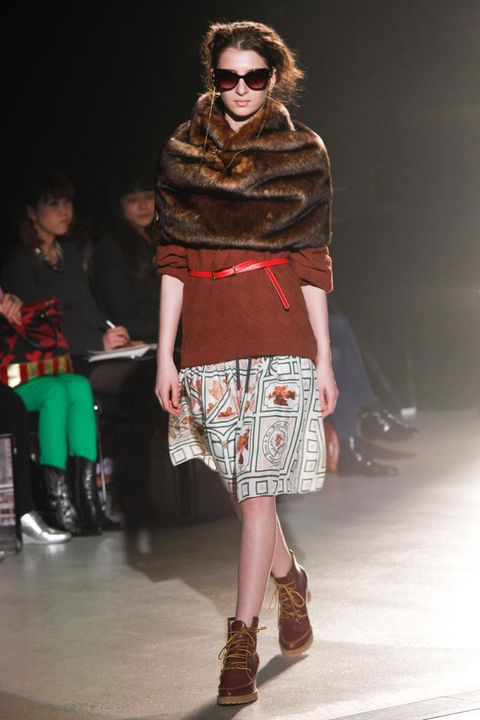 Clothing, Footwear, Leg, Brown, Textile, Joint, Outerwear, Pattern, Style, Fashion show,