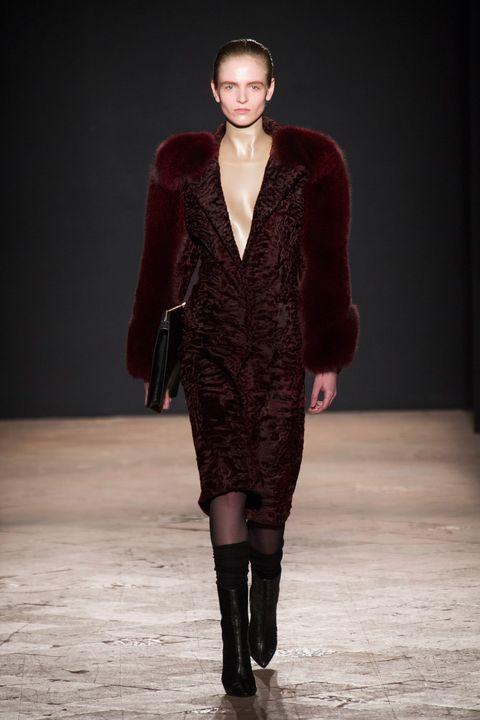 Clothing, Human body, Fashion show, Textile, Outerwear, Style, Fashion model, Runway, Winter, Dress,