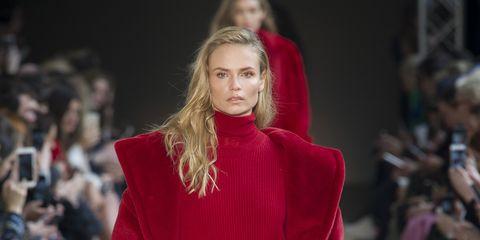 Fashion show, Red, Runway, Style, Fashion model, Fashion, Model, Maroon, Waist, Haute couture,