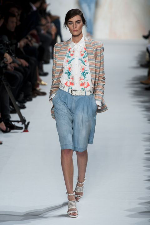 Clothing, Fashion show, Shoulder, Runway, Joint, Outerwear, Fashion model, Style, Summer, Pattern,