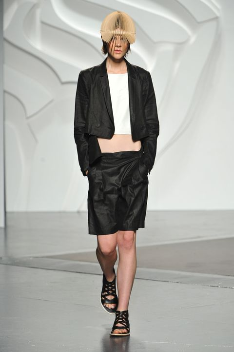 Clothing, Sleeve, Human leg, Joint, Outerwear, Collar, Style, Hat, Fashion show, Jacket,