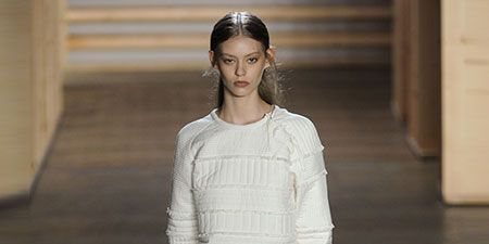 Brown, Sleeve, Skin, Fashion show, Human body, Shoulder, Joint, White, Runway, Style,