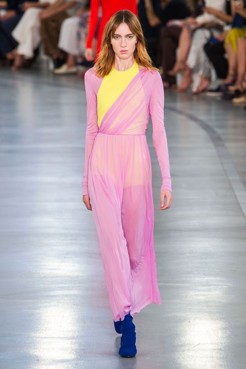 Clothing, Fashion show, Event, Shoulder, Runway, Fashion model, Joint, Outerwear, Pink, Style,