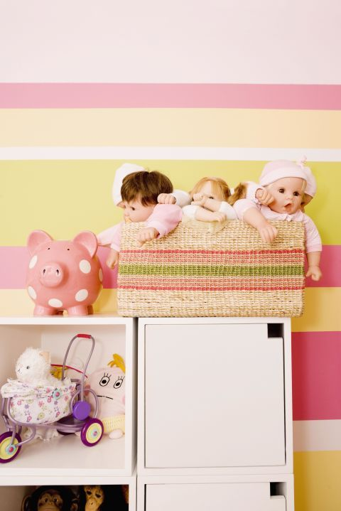 Product, Pink, Room, Nursery, Furniture, Child, Infant bed, Wallpaper, Bed, Teddy bear,