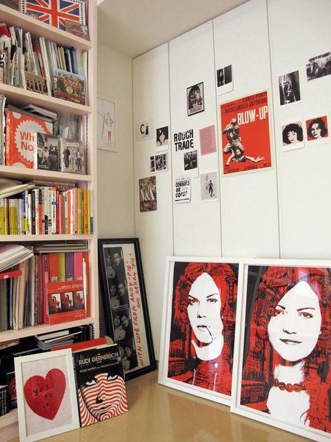 Shelf, Red, Shelving, Room, Bookcase, Interior design, Publication, Collection, Carmine, Book,
