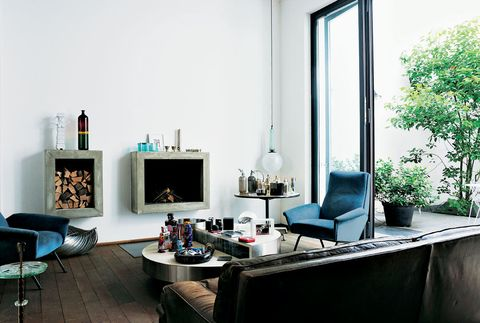 Blue, Room, Interior design, Living room, Table, Wall, Furniture, Floor, Home, Couch,