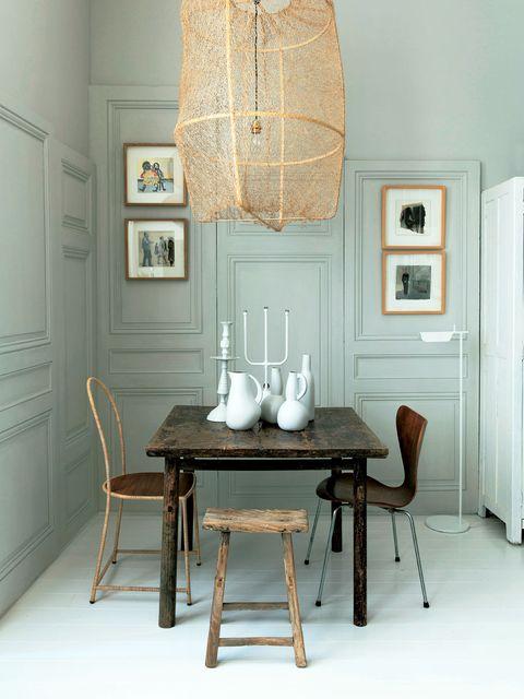 Wood, Room, Interior design, Table, Floor, Lampshade, Wall, Furniture, Dining room, Light fixture,