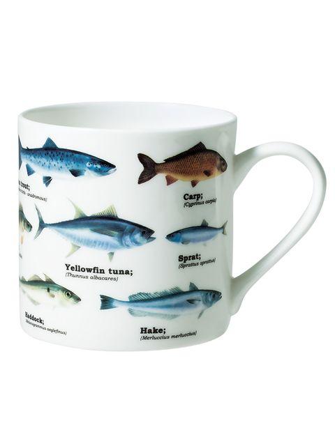 Serveware, Dishware, Vertebrate, Fish, Drinkware, Cup, Fin, Aqua, Azure, Porcelain,
