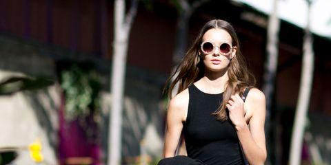 Clothing, Sunglasses, Denim, Textile, Joint, Outerwear, Jeans, White, Fashion accessory, Bag,