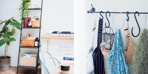 Room, Clothes hanger, Interior design, Shelving, Shelf, Peach, Home accessories, Interior design, Day dress, Flowerpot,