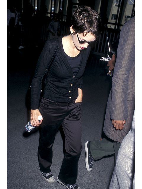 Shoe, Black, Black hair, Thigh, Flash photography, Leather,