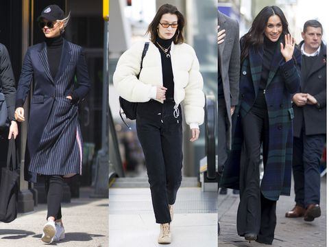 Clothing, Footwear, Leg, Coat, Trousers, Textile, Outerwear, Standing, Winter, Bag,