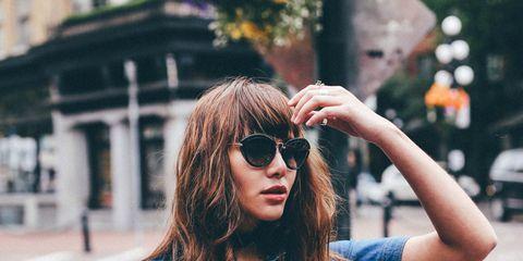 Clothing, Eyewear, Vision care, Sleeve, Denim, Sunglasses, Collar, Textile, Outerwear, Bag,