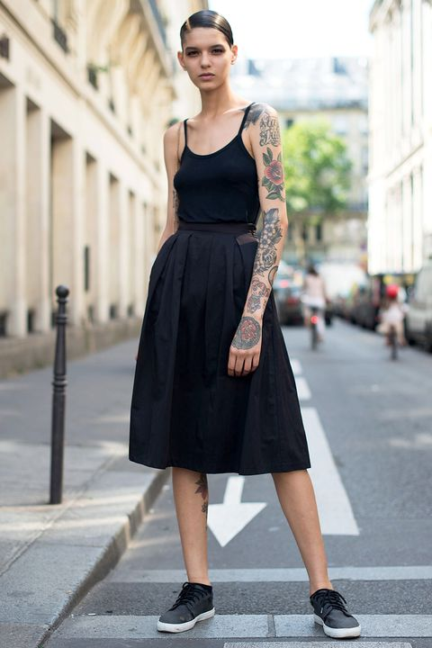 Clothing, Sleeve, Dress, Shoulder, Human leg, Photograph, Standing, Street fashion, Style, Street,