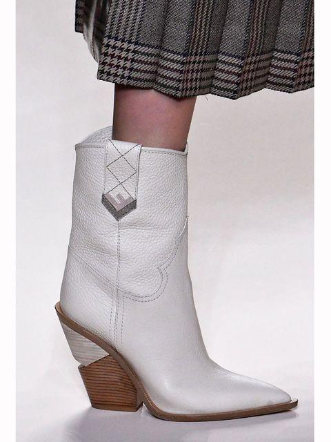 Footwear, Boot, White, Fashion, Tan, Beige, Tartan, Fashion design, High heels, Buckle,