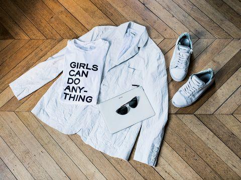 Product, White, Baby & toddler clothing, Hardwood, Brand, Walking shoe, Wood flooring, Wood stain, Active shirt,